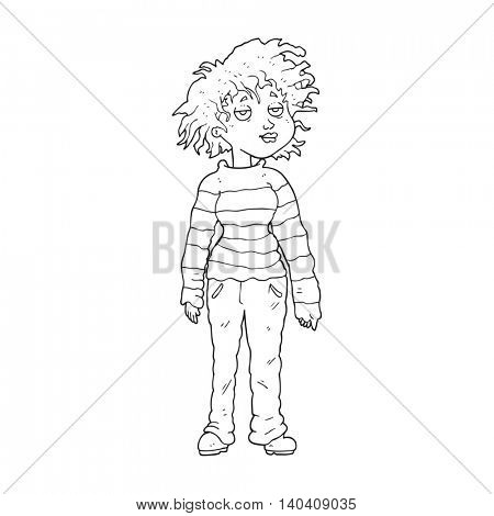 freehand drawn black and white cartoon chilled out girl