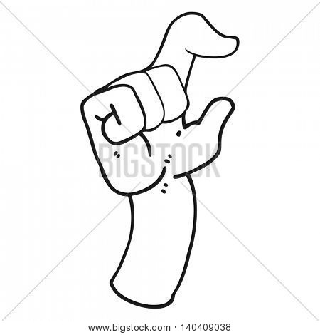 freehand drawn black and white cartoon hand making smallness gesture