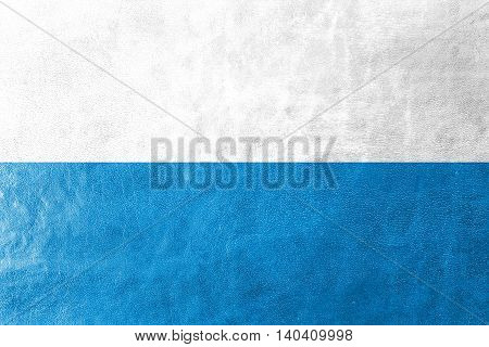 Flag Of Bavaria, Germany, Painted On Leather Texture