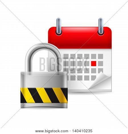 Security padlock and calendar with marked day