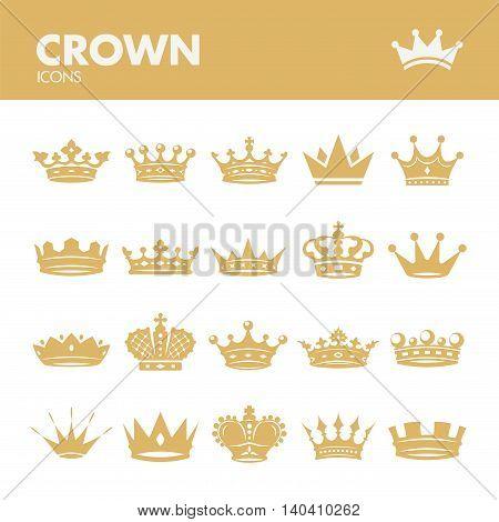 Crown. Icons set in vector. Royal symbols