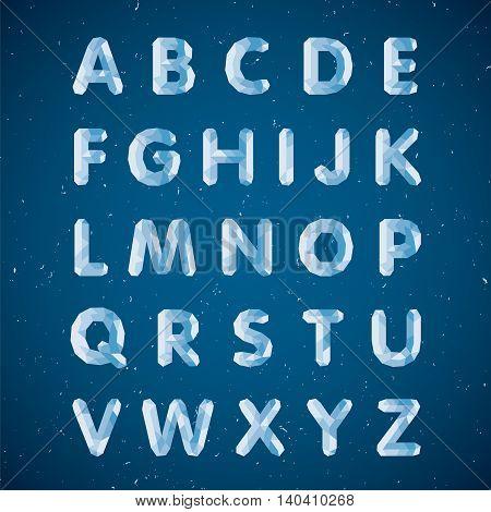 Crystal alphabet. Capital polygonal letters. Ice font