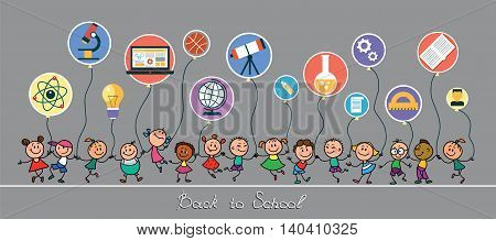 Back to school. Vector sketches with happy pupils. Children hold balloons in the form of icons of education.