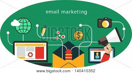 Flat vector mobile app - email marketing. Interface icons in an oval.