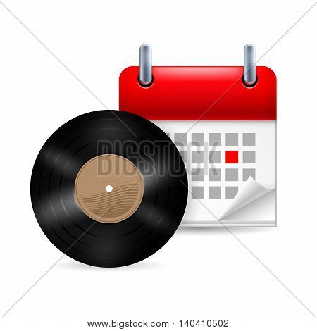 Vynil disc and calendar with marked day. Music event