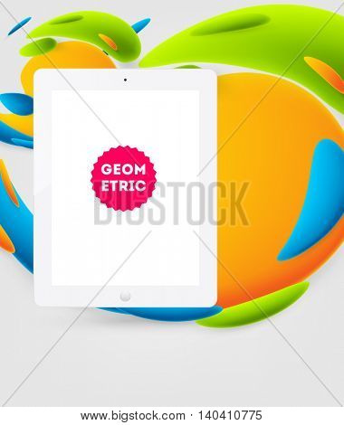 Abstract Vector Background with Liquid Bubbles. Circles Pattern with Mobile Phone Icon for Business Presentations, Application Cover or Web Site Design.