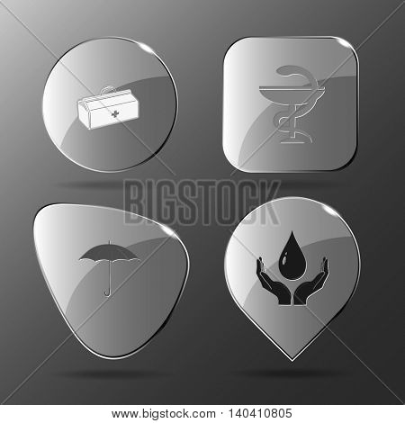 4 images: medical suitcase, pharma symbol, umbrella, protection blood. Medical set. Glass buttons. Vector illustration icon.