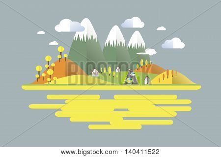 Autumn time, green, grey, yellow, orange mountain landscape, cars on the road. Modern flat design, design element, vector