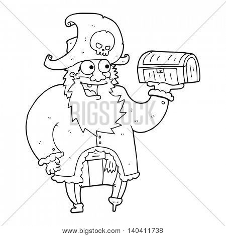 freehand drawn black and white cartoon pirate captain with treasure chest