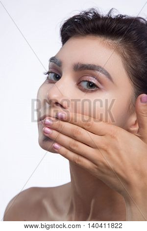 pretty woman smear out black color on lips