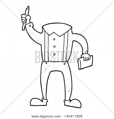 freehand drawn black and white cartoon headless body with notepad and pen (add own photos)