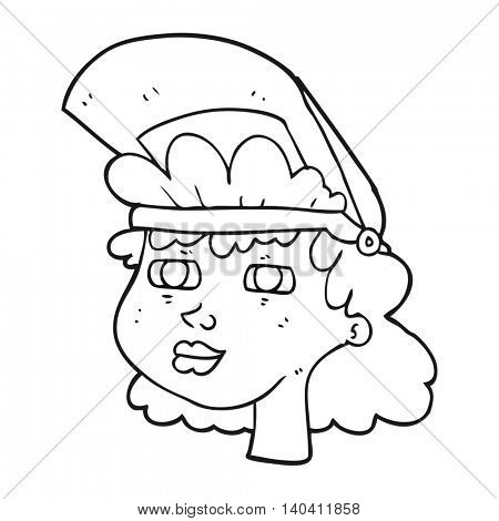 freehand drawn freehand drawn freehand drawn black and white cartoon woman with welding mask