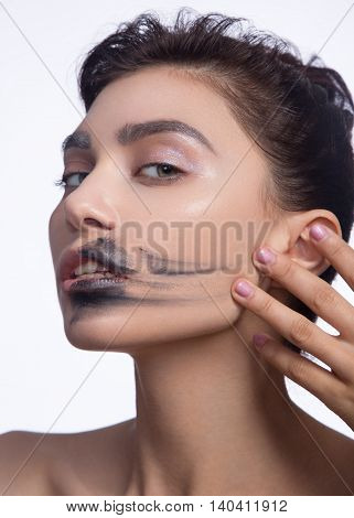 pretty woman smear out black color lips isolated