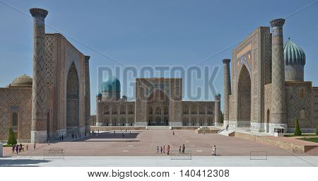 Samarkand Uzbekistan - June 03 2014: the Registan square in the center of Samarkand. Samarkand square is the most famous Registan because it is located on her famous architectural ensemble of XV-XVII centuries.