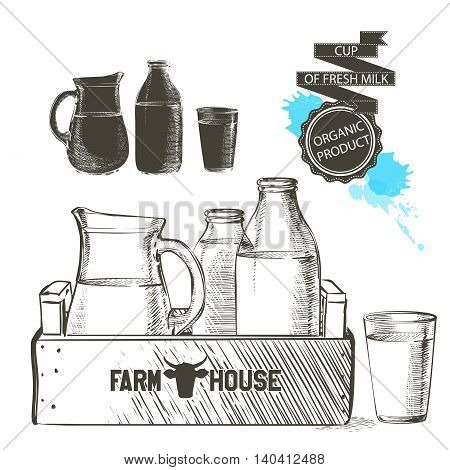 wooden crate full of bottles and jar with fresh milk products glass of milk isolated