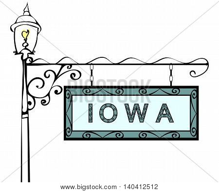Iowa retro pointer lamppost. Iowa state America tourism travel