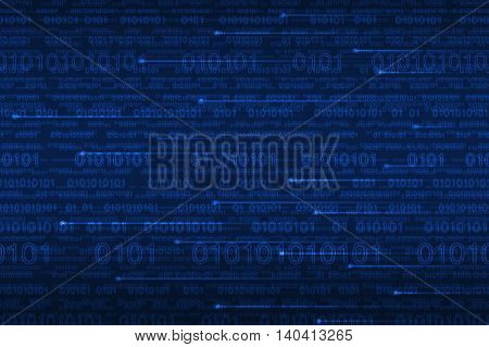 Computer binary code with spot line on blue background