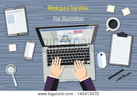 Professional Creative Graphic Designer Working At Office Desk, He Is Designing A Vector Illustration