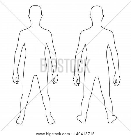 Fashion teenager's outlined template figure silhouette (front & back view) vector illustration isolated on white background