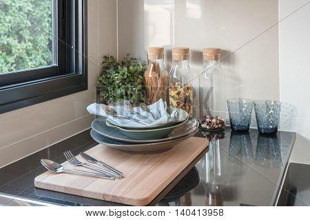 Black Counter In Kitchen Room Design