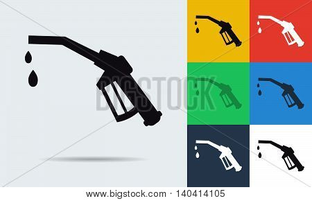Vector colored and monochrome refueling nozzle icon in flat style. Use for eco theme and transportation