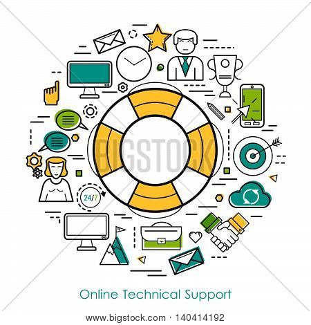 Vector concept of technical support in thin line style. Lifebuoy, male and female operators, device, computer and web cloud storage. Round web banner