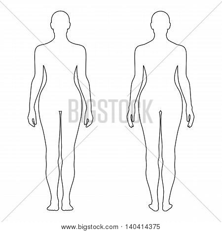 Fashion woman's outlined template figure silhouette (front & back view) vector illustration isolated on white background
