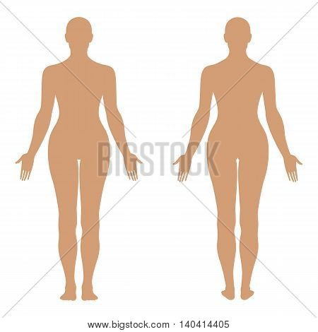 Fashion woman's solid template figure silhouette (front & back view) vector illustration isolated on white background