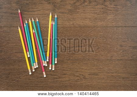 Multicolor Pencils On Wooden Background