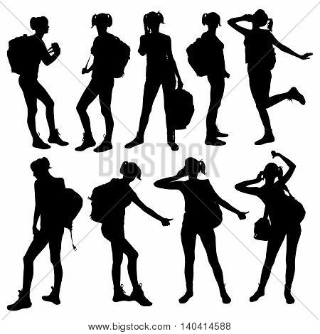Vector silhouette of woman with backpack. Pose of the tourist traveler travel woman hitchhiking.
