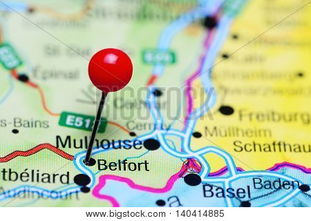 Belfort pinned on a map of France