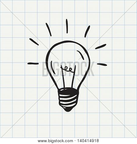 Light bulb icon (idea symbol) sketch in vector. Hand drawn doodle sign