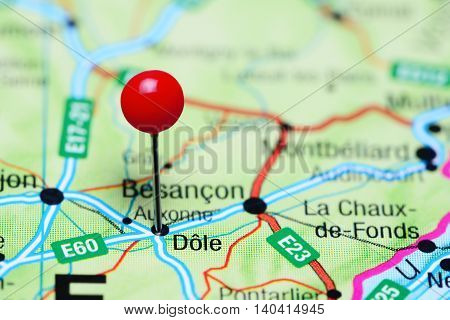 Dole pinned on a map of France