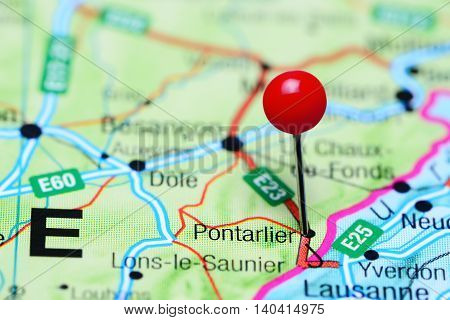 Pontarlier pinned on a map of France