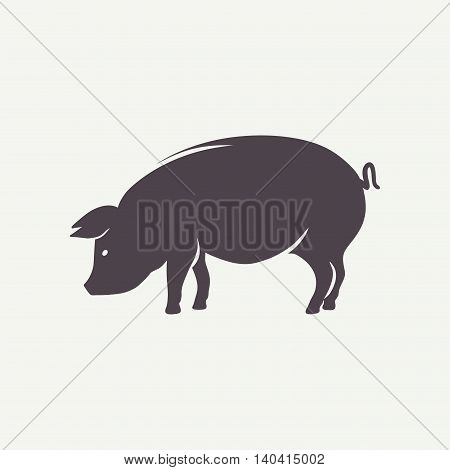 Pig symbol. Farm animal silhouette in vector