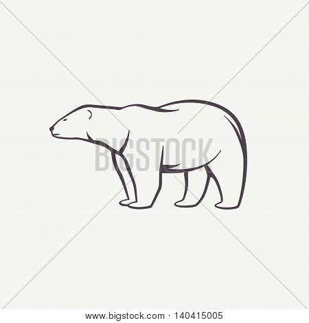Polar bear outline symbol. Animal silhouette in vector