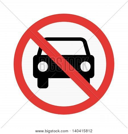 No car sign vector illustration isolated on white