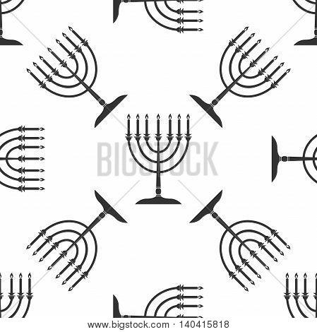 Hanukkah menorah icon pattern on white background. Adobe illustrator