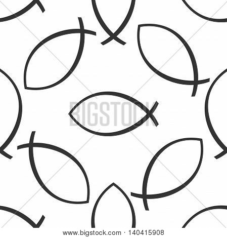 Christian fish icon pattern on white background. Adobe illustrator