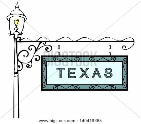 Texas retro pointer lamppost. Texas state America tourism travel