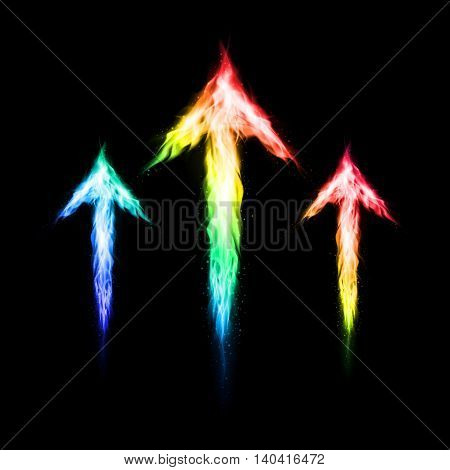 Three colorful fire arrows directed upward. Illustration on black background