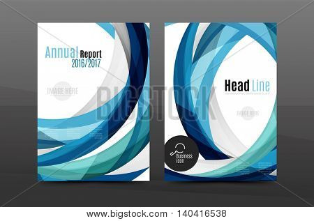 Blue wave annual report cover template. Brochure, flyer template layout, vector leaflet abstract background, A4 size page