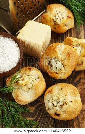 Baked Buns Stuffed With Cheese And Herbs