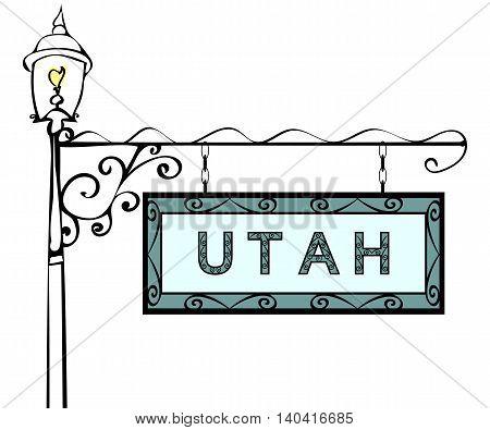Utah retro pointer lamppost. Utah State America tourism travel.