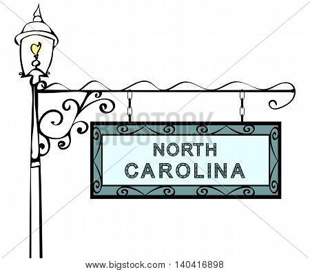 North Carolina retro pointer lamppost. North Carolina State America tourism travel.