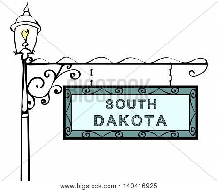 South Dakota retro pointer lamppost. South Dakota State America tourism travel.