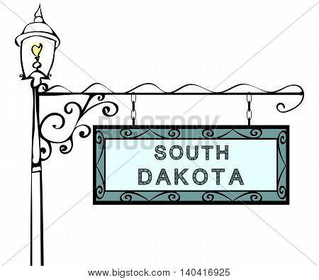 South Dakota retro pointer lamppost. South Dakota State America tourism travel.