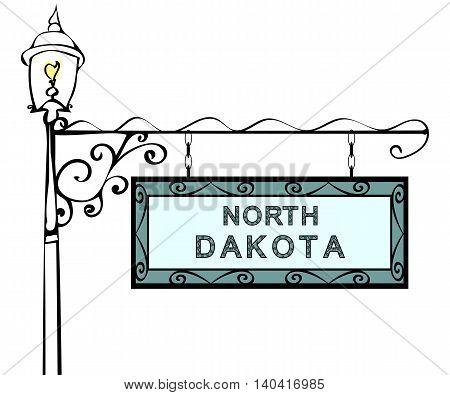 North Dakota retro pointer lamppost. North Dakota State America tourism travel.