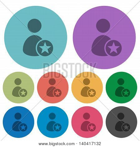 Color Rank user flat icon set on round background.