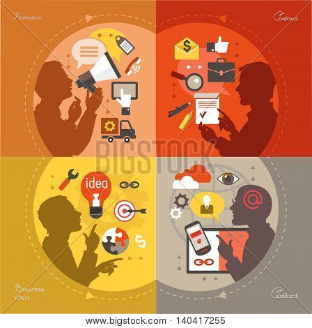 Modern web concepts set flat vector bisines idea promotion contract contact.
